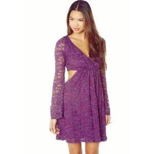 Mystic Burgundy Cut-Out Lace Dress